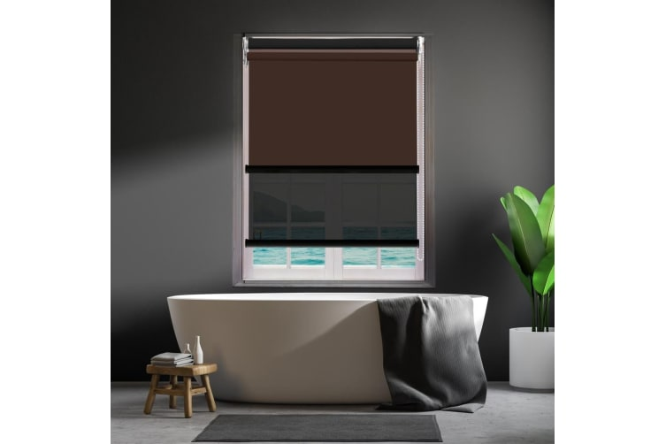 Modern Day/Night Double Roller Blinds Commercial Quality 180x210cm Coffee Black