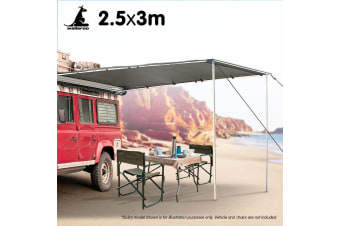 Wallaroo 3m x 2.5m Car Side Awning Roof Top Tent - Grey