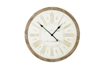 Wooden Carved Clock (White/Wood) (65 x 65 x 4.5cm)