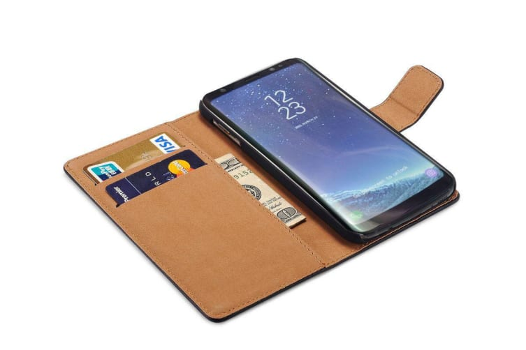 For Samsung Galaxy S8 PLUS Wallet Case Styled Durable Slim Leather Cover Black