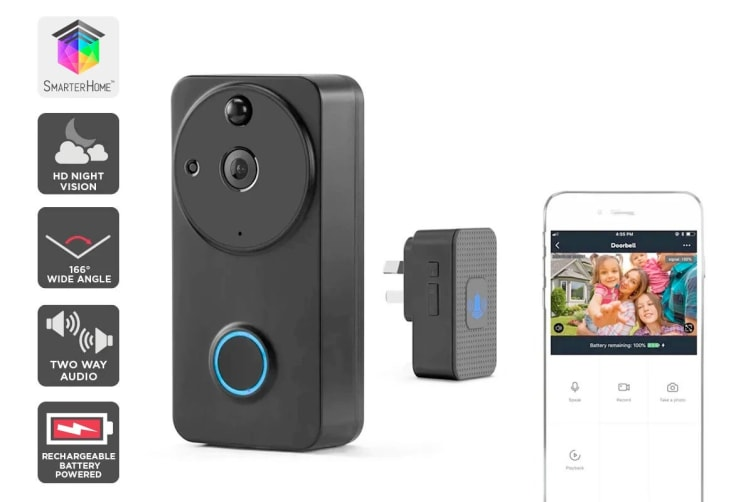 Kogan SmarterHome™ Wireless Smart Video Doorbell with Chime
