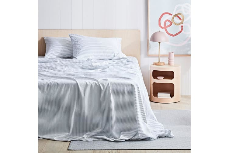 Canningvale 1000TC Sheet Set - Queen Bed - Palazzo Linea  Crisp White with Eclipse Blue Stripe