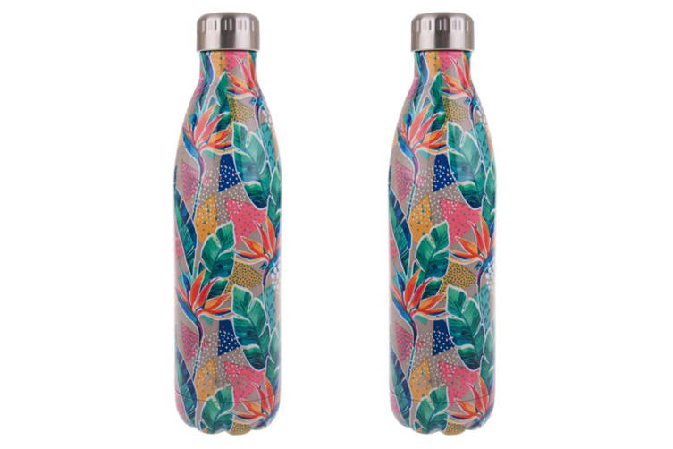 2x Oasis 750ml Double Wall Insulated Drink Water Bottle Vacuum Flask Botanical