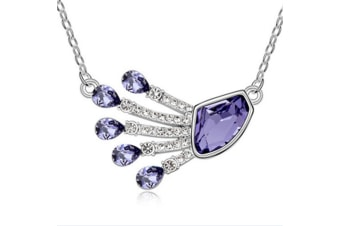 Luxury Crytal Peacock feathers  Necklace chain Purple