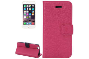 For iPhone 6S PLUS 6 PLUS Wallet Case Lychee Leather Shielding Cover Magenta