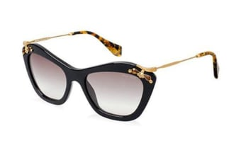 Miu Miu SMU03P - Black Gold Havana Brown Strass (Brown Shaded lens) Womens Sunglasses