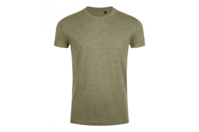SOLS Mens Imperial Slim Fit Short Sleeve T-Shirt (Heather Khaki) (S)
