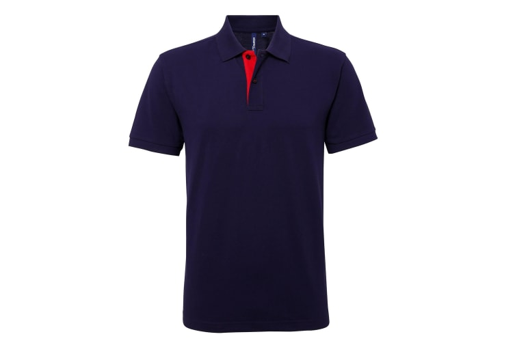 Asquith & Fox Mens Classic Fit Contrast Polo Shirt (Navy/ Red) (M)