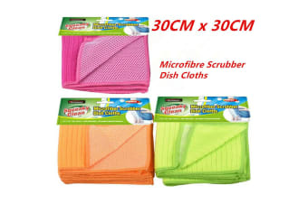 12 x Microfibre Scrubber Cleaning Cloth Microfiber Dish Car Gym Towel Glass 30cm