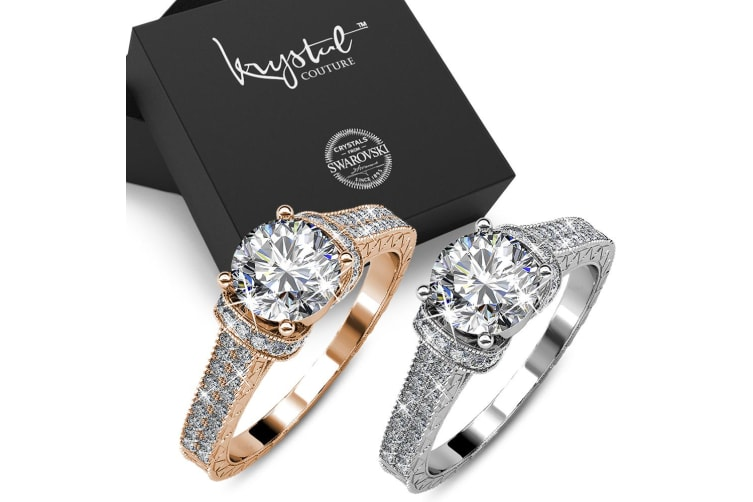 Boxed 2pcs One Desire Ring Embellished with Swarovski crystals