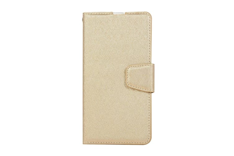 For Samsung Galaxy S10 PLUS Case Gold Silk Texture Leather Wallet Folio Cover