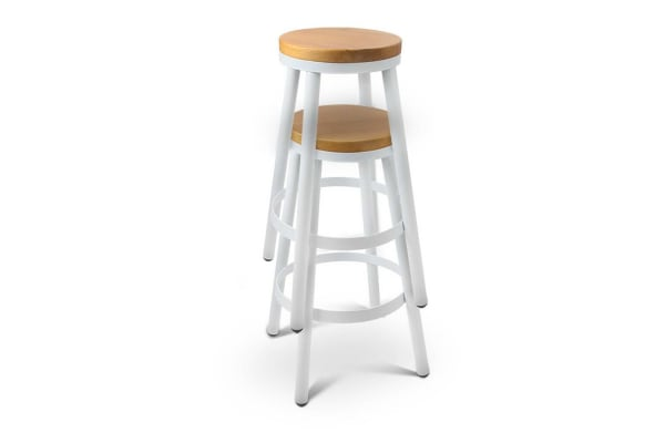 Set of 2 Round (White) Stackable Bar Stools