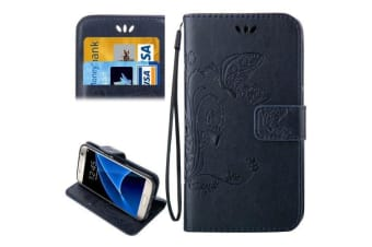 For Samsung Galaxy S7 Wallet Case  Horse Leather Protective Cover Dark Blue