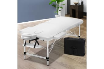 Zenses 75cm Portable Aluminium Massage Table 2 Fold White Beauty Therapy