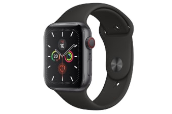 Apple Watch Series 5 (GPS+Cellular) 44mm Gray Aluminum Case Black Sport Band