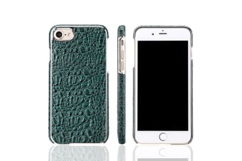 For iPhone 8 7 Case Fierre Shann Crocodile Durable Genuine Leather Cover Green