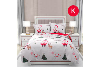 King Size SANTA SNOW CHRISTMAS Design Quilt Cover Set