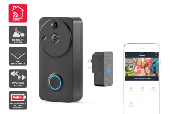 Kogan SmarterHome™ Wireless Smart Full HD 1080P Video Doorbell with Chime (Black)
