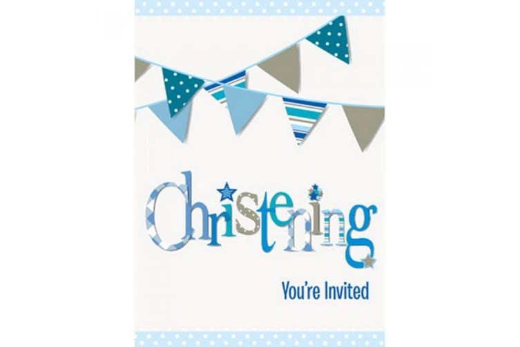 Unique Party Bunting Christening Invitation Cards (Pack Of 8) (Pink) (One Size)