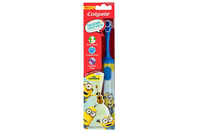 3x Colgate Kids Battery Toothbrush Extra Soft Bristles/Timer Minion 3y+ Assorted