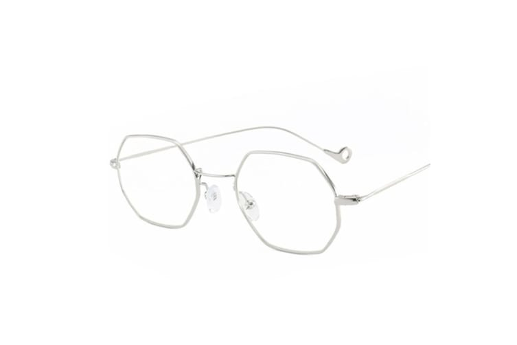 Small Metal Frame Sunglasses Square Flat Clear Lens  CrystalLens