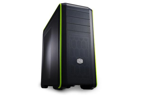 Coolermaster CM693 ATX Case. Black with Green Trim and Side Window. Mesh Front