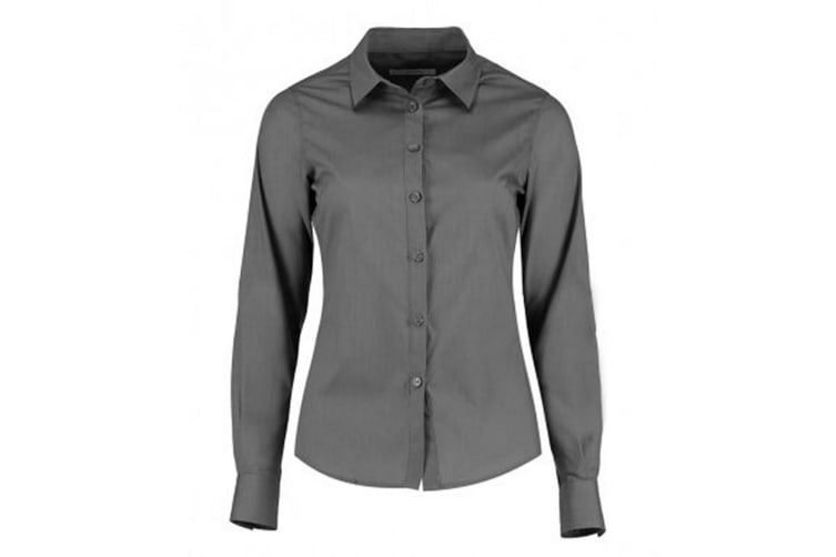 Kustom Kit Womens/Ladies Long Sleeve Tailored Poplin Shirt (Graphite) (16)