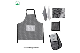5 Pce Cotton Kitchen Set Marigold Black by IDC Homewares