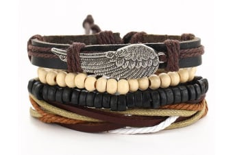 Tribe Angle Wing Feather Cuff Bracelet Bangle Rope Leather Surfer Wrap G0035