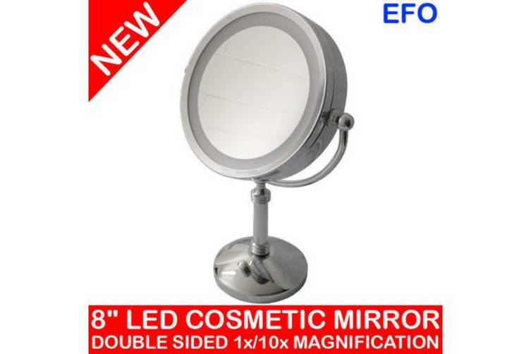 "8"" Led Backlit Cosmetic Make Up Mirror 1X / 10X Magnification Battery Powered"