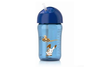 Avent 340ml Straw Drinking Water Bottle Cups for Toddler/Baby/Kids/Children Blue