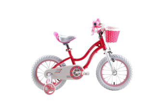 RoyalBaby Girls Kids Bike Stargirl 12'' Bicycle for 3-8 Years Old Child's Cycle with Basket, 12 inch incl Training Wheels Pink