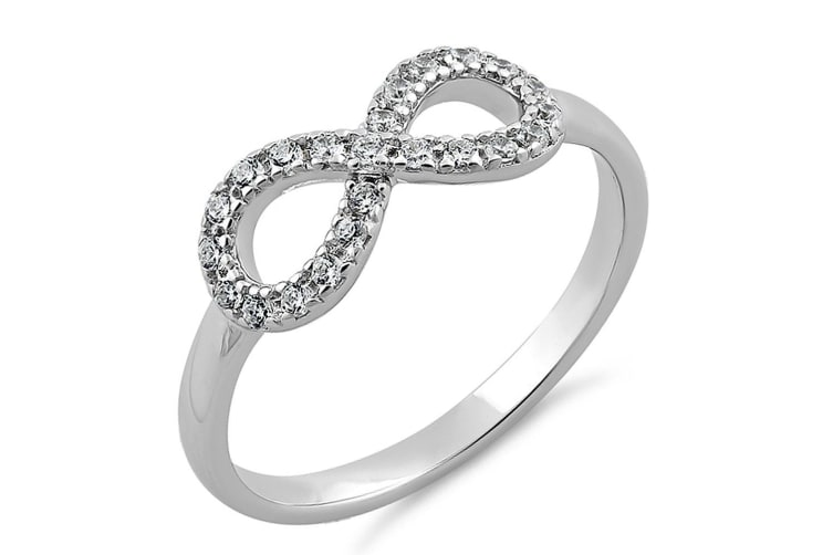 .925 Infinity Bliss Ring-Silver/Clear   Size US 8