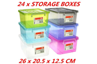 24 x 5L Colored Stack-able Tubs Plastic Clip Lock Lid Storage Boxes Containers