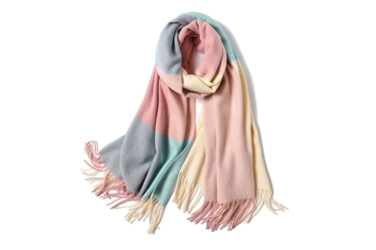 Ladies'Classic Checked Scarf With Thicker Fringed Shawl - 14 Pink 200CmX70Cm