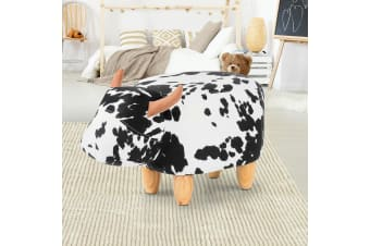 Artiss Kids Ottoman Foot Stool Toy Cow Chair Animal Foot Rest Fabric Seat White