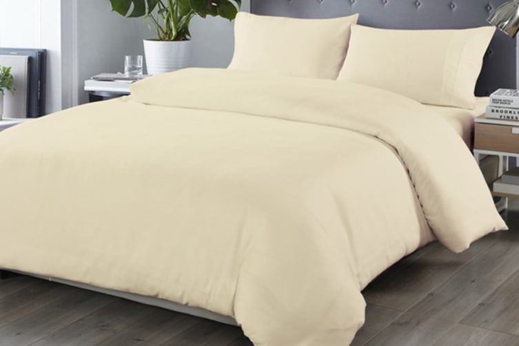 Royal Comfort Blended Bamboo Quilt Cover Set (King, Dark Ivory)
