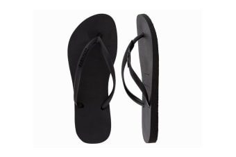 Havaianas Slim Logo Metallic Thongs (Rock Black, Size 37/38 BR)