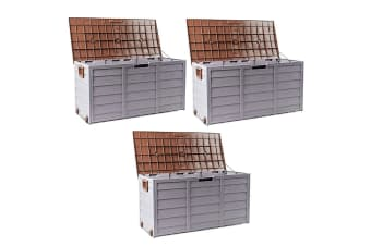 Brown 290L 3X Lockable Outdoor Storage Box