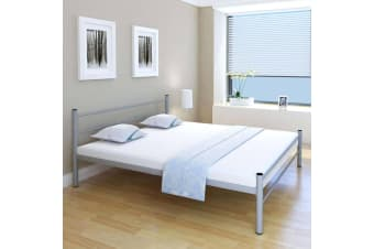 vidaXL Bed Frame Grey Metal King Size