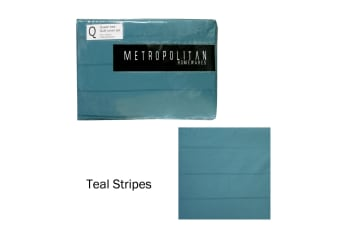 Teal Stripes Quilt Cover Set Queen by Metropolitan