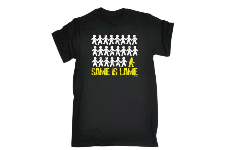 123T Funny Tee - Same Is Lame Robot - (X-Large Black Mens T Shirt)