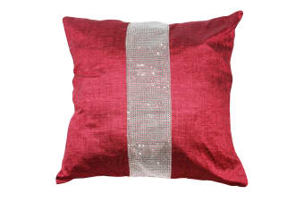 Panache Eclat Diamante Strip Cushion Cover In 8 Colours (Cushion Pad Not Included) (Red)