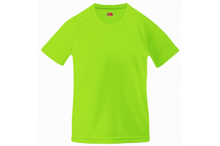 Fruit Of The Loom Childrens Unisex Performance Sportswear T-Shirt (Pack of 2) (Lime) (14-15)