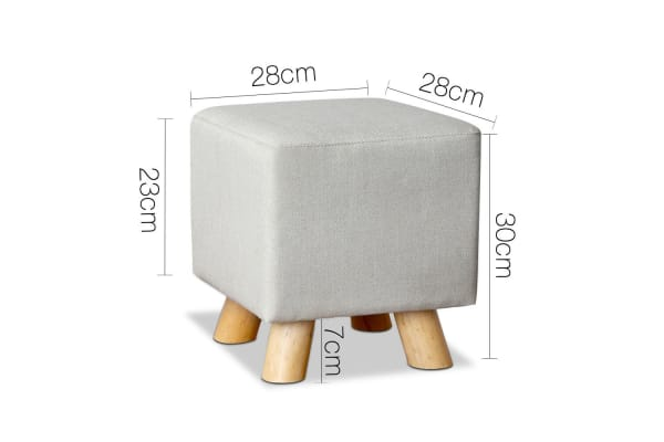 Linen Square Foot Stool (Beige)