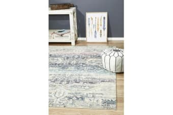 Hazel Navy, Grey & Pink Durable Vintage Look Rug