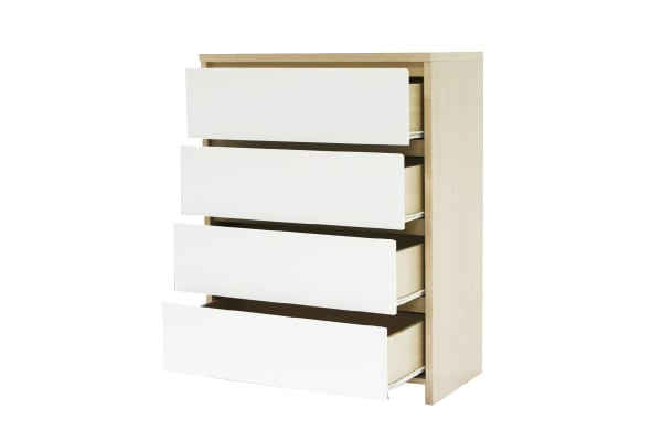 Ovela 4 Drawer Tallboy Cabinet - Bergen Collection (White & Birch)