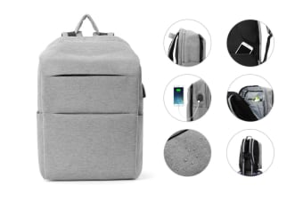 Ultimate Anti-Theft Defender Backpack (Grey) with USB Port