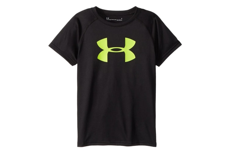 Under Armour Boys' UA Tech Big Logo S/S T-Shirt (Black/Yellow, Size S)