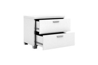 2 Drawers Bedside Table White Cabinet High Gloss Chest Storage Lamp Bed